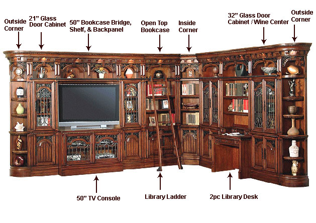 A Multi Functional Home Entertainment Center Office Bookcase Wall In Spanish Revival Style